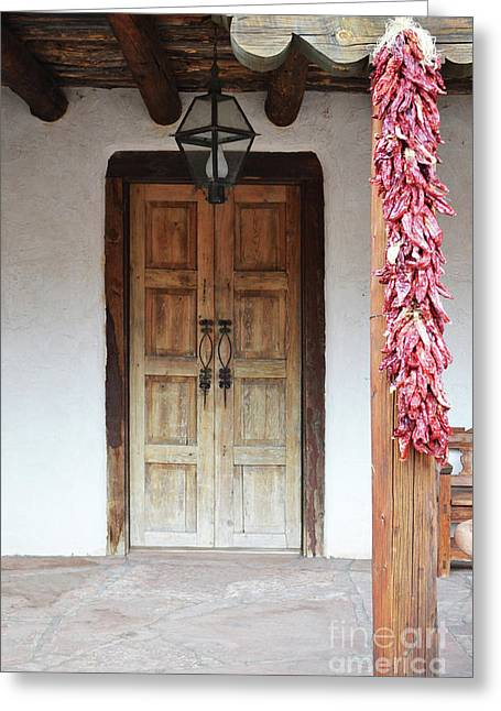 Greeting Card featuring the photograph Wooden Chili Door by Andrea Hazel Ihlefeld