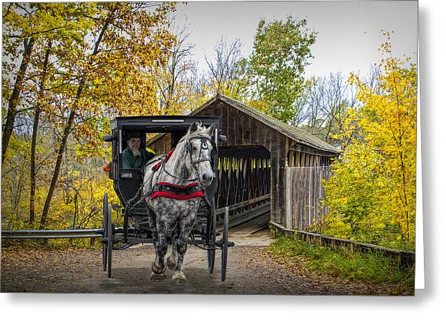 Wooden Covered Bridge And Amish Horse And Buggy In Autumn Greeting Card by Randall Nyhof