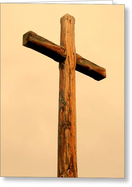 Wooden Cross Greeting Card by Cindy Wright