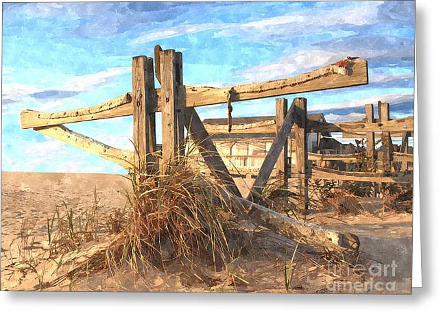 Wooden Cross Falmouth Beach Greeting Card by Bryan Attewell