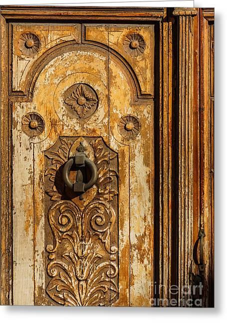 Wooden Door Greeting Card by Lutz Baar