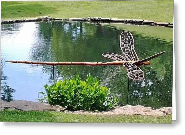 Wooden Dragonfly  Greeting Card by Gayle Miller