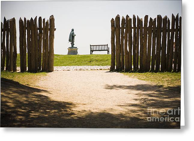 Wooden Fence And Statue Of John Smith Greeting Card by Roberto Westbrook