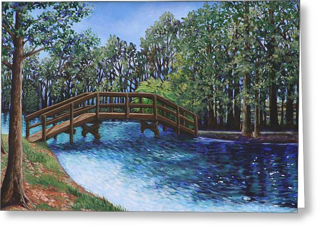 Wooden Foot Bridge At The Park Greeting Card
