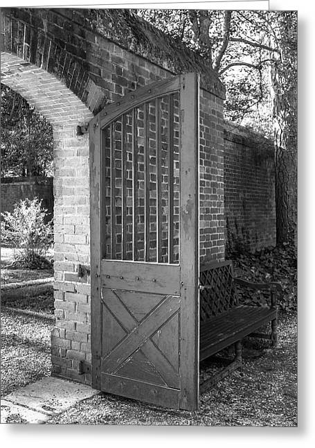 Wooden Garden Door B W Greeting Card