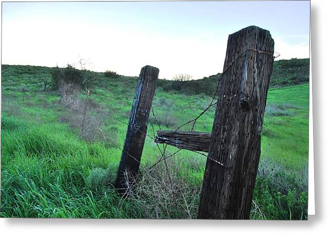 Greeting Card featuring the photograph Wooden Gate In Field by Matt Harang