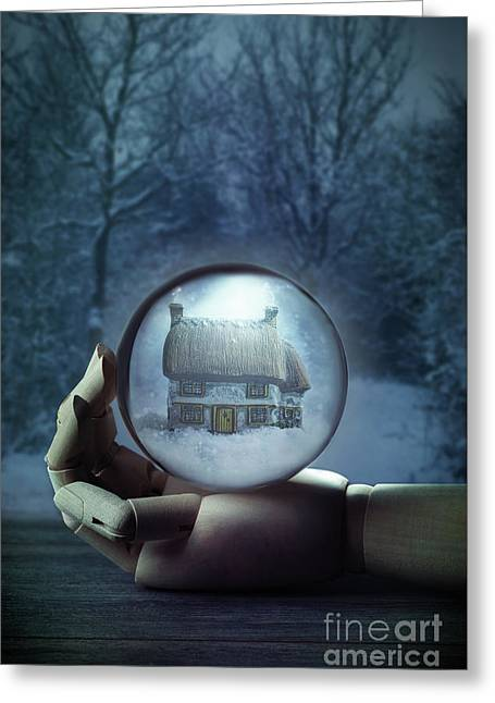 Wooden Hand Holding Crystal Ball Greeting Card