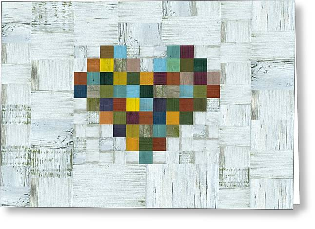 Greeting Card featuring the digital art Wooden Heart 2.0 by Michelle Calkins