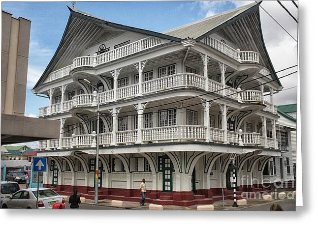 Wooden House In Colonial Style In Downtown Suriname Greeting Card by Patricia Hofmeester