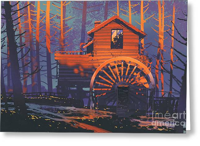 Greeting Card featuring the painting Wooden House by Tithi Luadthong