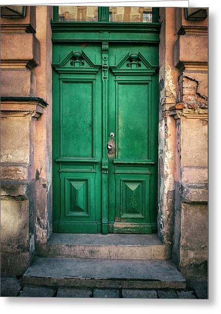 Wooden Ornamented Gate In Green Color Greeting Card