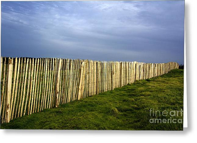 Wooden Picket Fence. Auvergne. France. Greeting Card by Bernard Jaubert