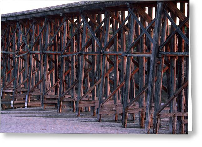 Wooden Railroad Bridge - Fort Bragg California Greeting Card by Soli Deo Gloria Wilderness And Wildlife Photography