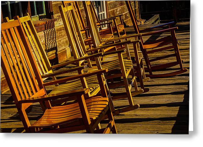 Wooden Rocking Chairs Greeting Card by Garry Gay