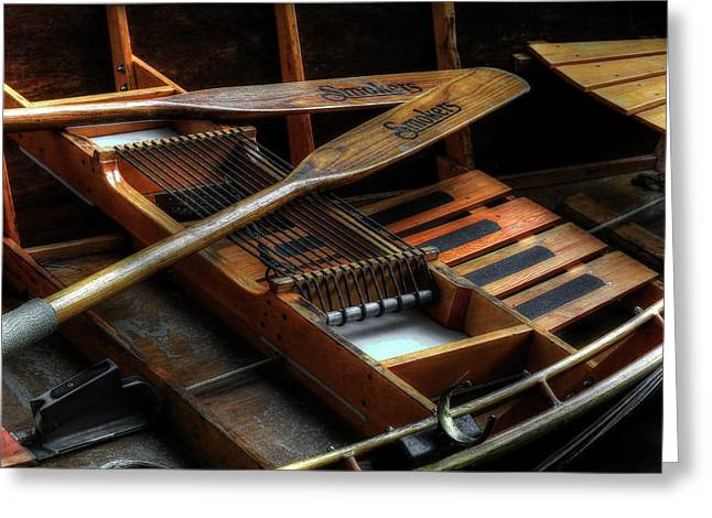 Wooden Rowboat And Oars Greeting Card