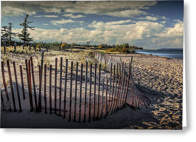 Wooden Sand Fence On The Beach At Glen Haven Michigan Greeting Card by Randall Nyhof
