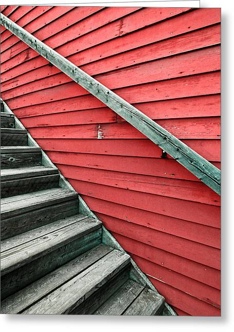 Wooden Steps Greeting Cards - Wooden Steps Against Colourful Siding Greeting Card by Emilio Lovisa