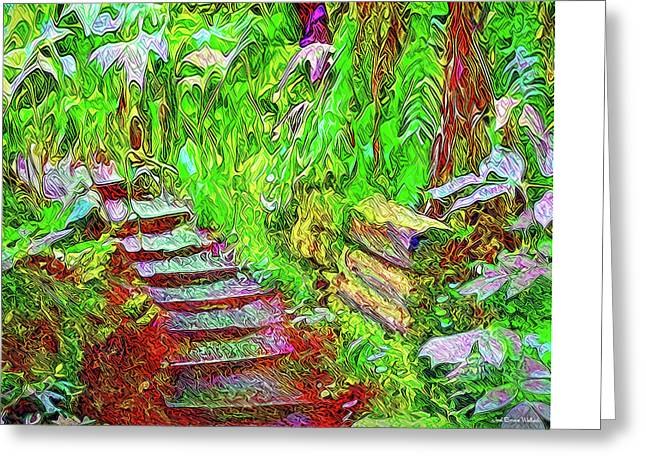 Greeting Card featuring the digital art Wooden Steps Through The Forest - Tamalpais California by Joel Bruce Wallach