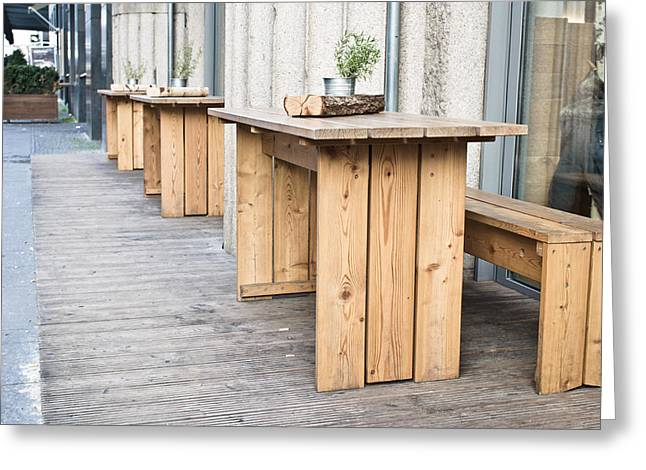 Wooden Tables Greeting Card