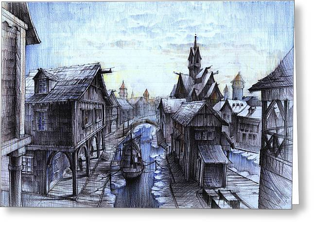Wooden Town On The Frozen Lake Greeting Card