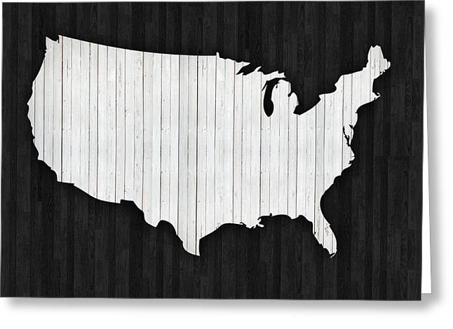 Wooden Usa  Map Greeting Card by Art Spectrum