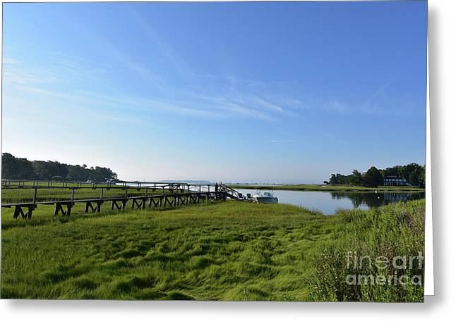 Wooden Walkway In Duxbury Out To The Bay Greeting Card by DejaVu Designs