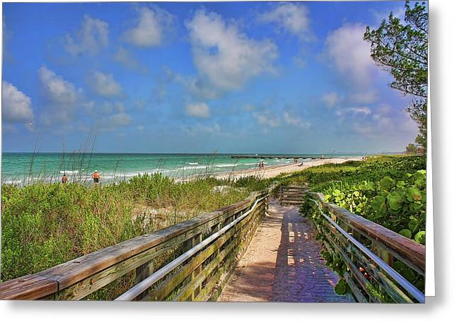 Wooden Walkway To The Beach Greeting Card by HH Photography of Florida