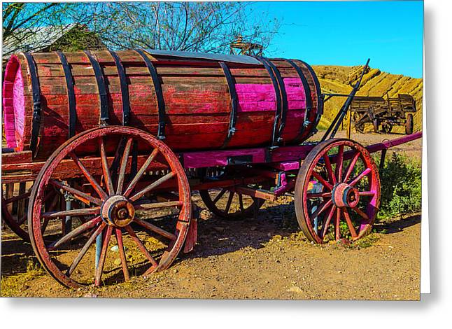 Wooden Water Wagon Greeting Card by Garry Gay