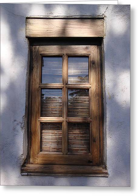 Wooden Window In The Shadows Greeting Card by Kim Chernecky