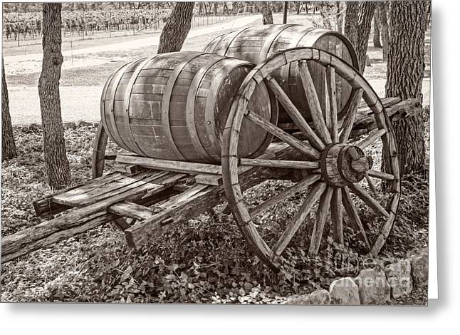 Wooden Wine Barrels On Cart Greeting Card