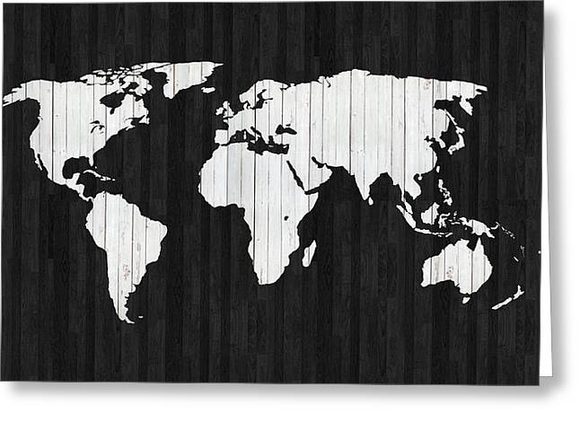 Wooden World Map Greeting Card by Art Spectrum