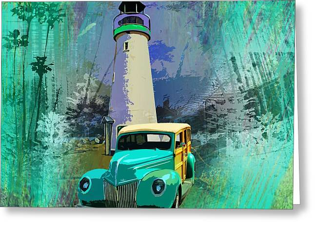 Woodie In Front Of Santa Cruz Lighthouse Greeting Card by Phil Hamilton