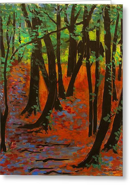 Woodland At Watkins Glen New York Greeting Card by Ethel Vrana