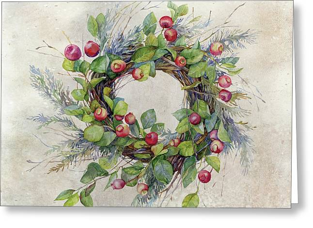 Woodland Berry Wreath Greeting Card by Colleen Taylor