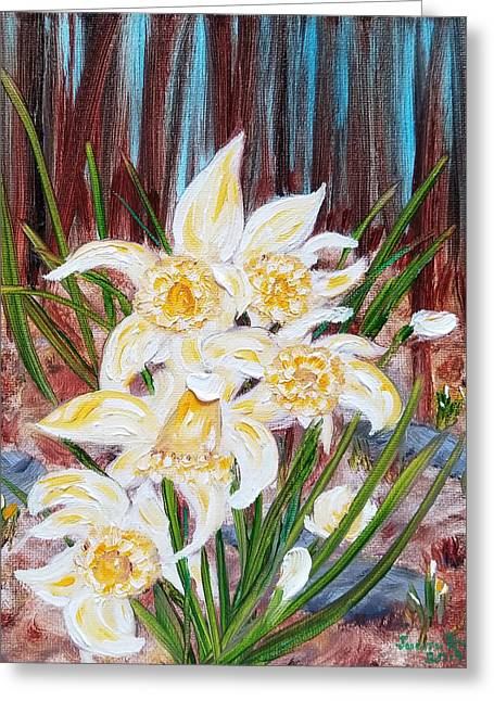 Greeting Card featuring the painting Woodland Daffodils by Judith Rhue