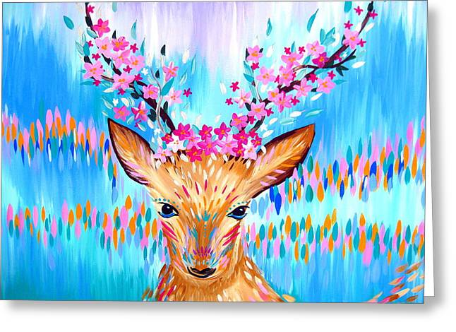Woodland Deer Spirit Greeting Card by Cathy Jacobs