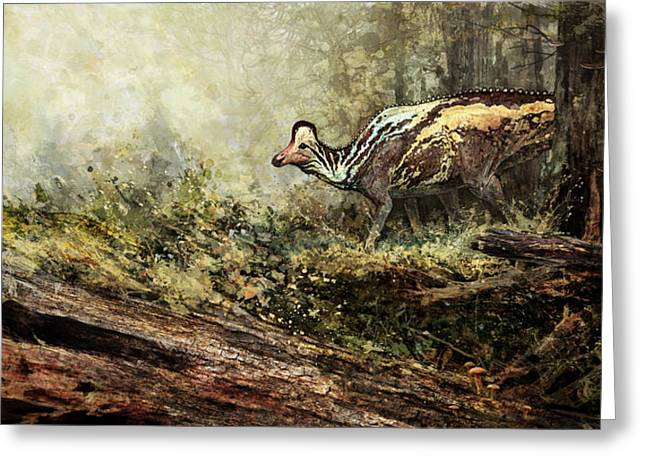 Woodland Encounter - Corythosaurus Greeting Card by Angie Rodrigues
