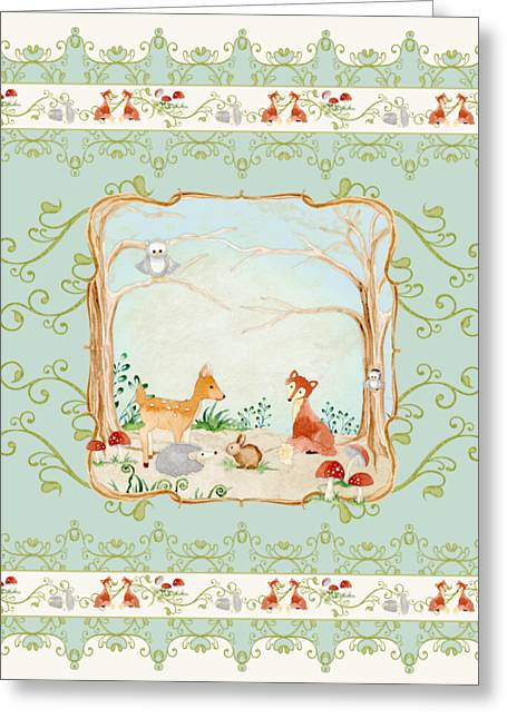 Woodland Fairy Tale - Aqua Blue Forest Gathering Of Woodland Animals Greeting Card