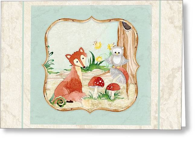 Woodland Fairy Tale - Fox Owl Mushroom Forest Greeting Card by Audrey Jeanne Roberts