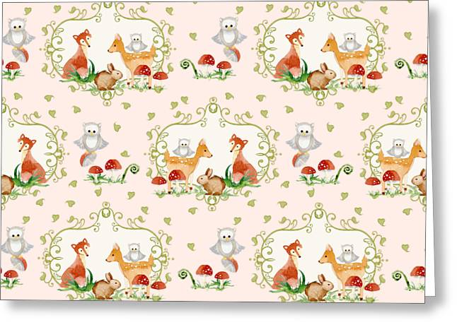 Woodland Fairy Tale - Pink Sweet Animals Fox Deer Rabbit Owl - Half Drop Repeat Greeting Card