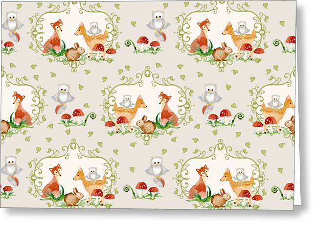 Woodland Fairy Tale -  Warm Grey Sweet Animals Fox Deer Rabbit Owl - Half Drop Repeat Greeting Card