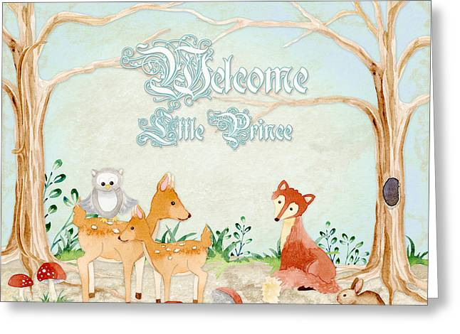 Woodland Fairy Tale - Welcome Little Prince Greeting Card