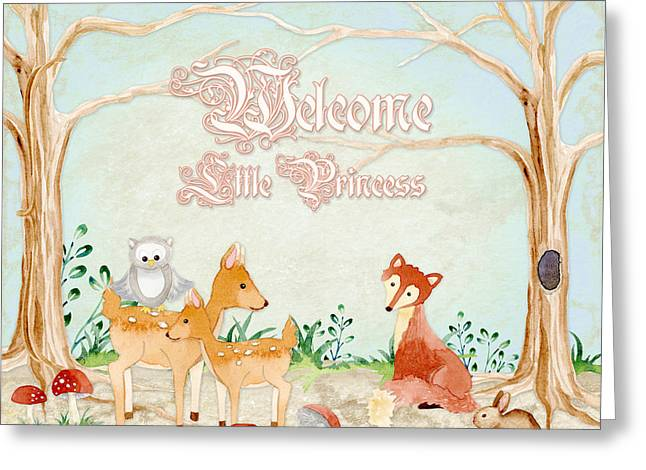 Cute Tree Images Greeting Cards - Woodland Fairy Tale - Welcome Little Princess Greeting Card by Audrey Jeanne Roberts