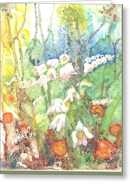 Greeting Card featuring the painting Woodland Garden by Renate Nadi Wesley