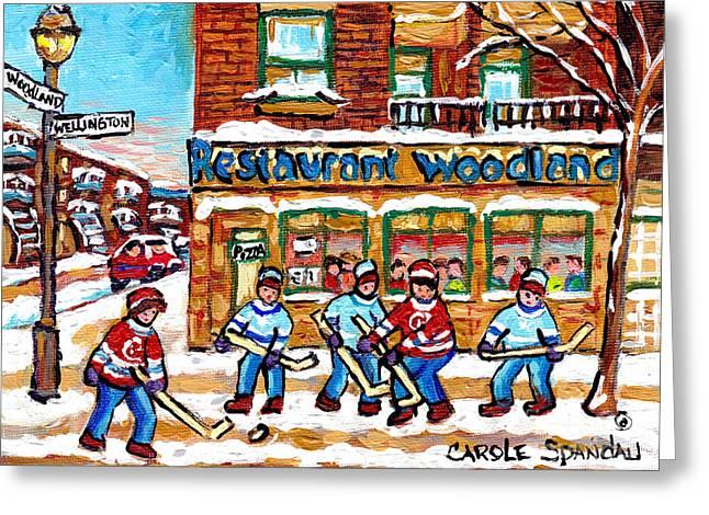 Woodland Pizza Restaurant Verdun Street Hockey Scene Montreal Winter City Paintings  C Spandau       Greeting Card
