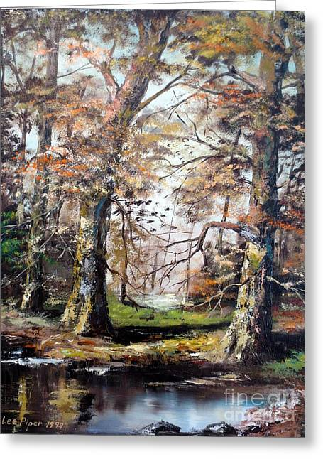 Greeting Card featuring the painting Woodland Pond  by Lee Piper