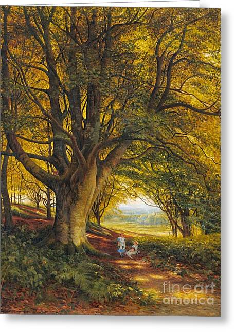 Woodland Scene In Summer With Children On A Path Greeting Card