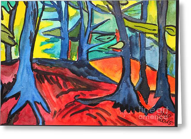 Woodland Scene Greeting Card by Jutta Maria Pusl