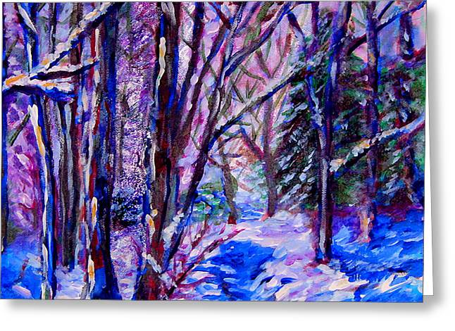 Woodland Snow Greeting Card by Laura Heggestad