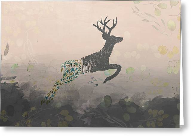 Woodland Stag Greeting Card by Amanda Lakey